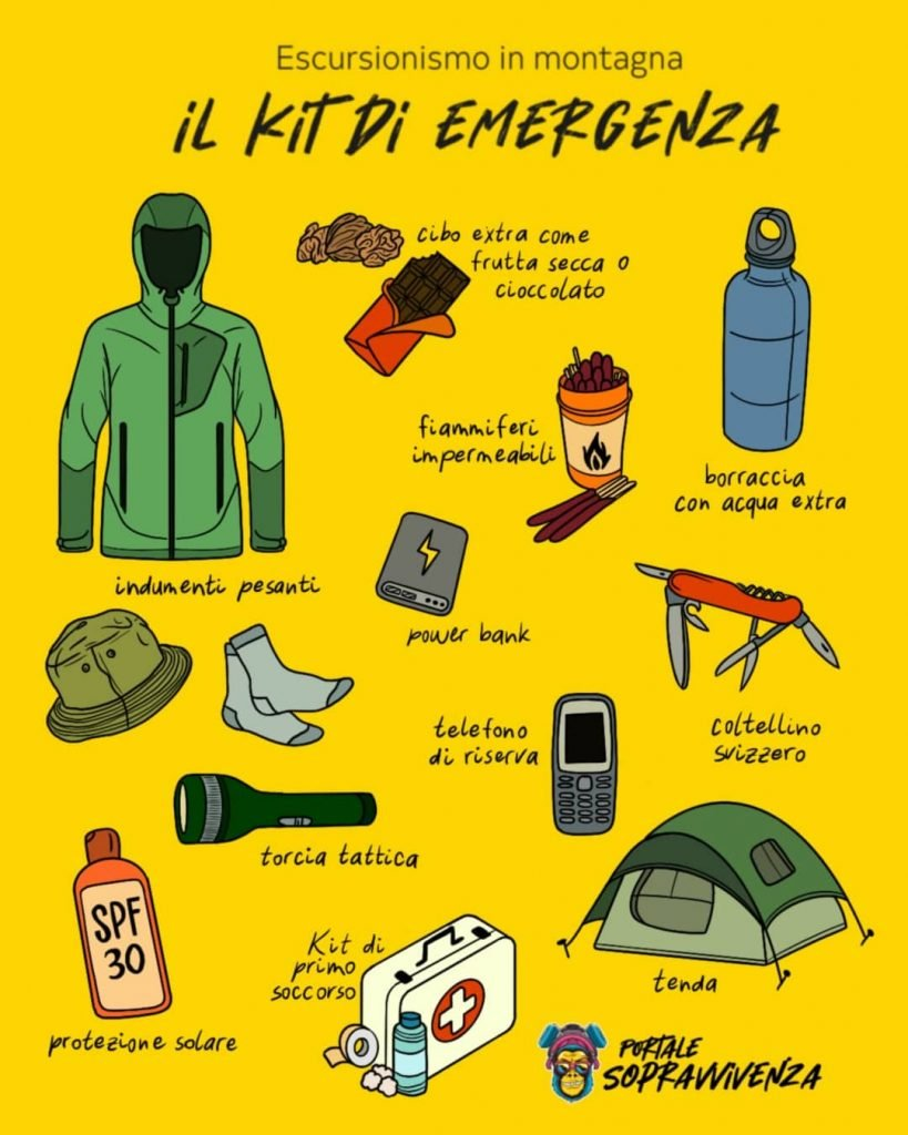 Kit escursionismo per emergenza - Portale Sopravvivenza